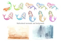 Watercolor Mermaids. Kids Cliparts and Pattern Product Image 2