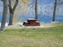 Picnic Table Trees Lake Photograph Product Image 1