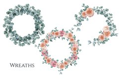 Eucalyptus and Roses Watercolor Wreaths Product Image 2