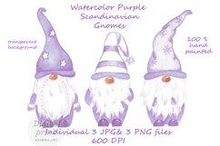 Watercolor Scandinavian purple gnome clipart Product Image 1