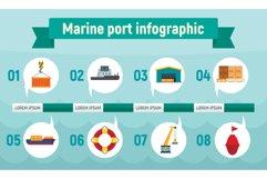 Marine port infographic, flat style Product Image 1