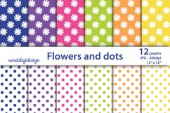 White flower and dots seamless pattern, scrapbook paper Product Image 1