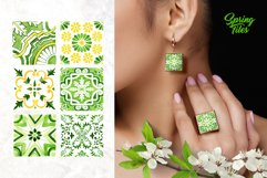 Spring Tiles Green Watercolor Clipart Set1 Product Image 5