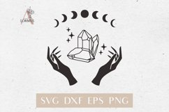 Witch hands svg, Crystal svg, Crescent moon svg, Magic gem Product Image 1