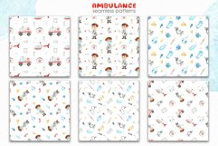 Watercolor Ambulance. Clipart, cards, seamless patterns Product Image 6