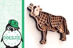Cow farm animal 3d svg model multi layer mandala layered Product Image 5