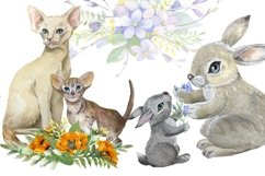 Mom and baby animals, watercolor clipart,Mothers day Product Image 3