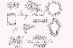 Gray Floral Clipart For Wedding Stationery Product Image 2
