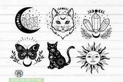 Celestial svg, Mystic, Crystal Moon, Moon Cat, Moon Phase Product Image 2