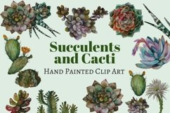 Succulents and Cacti Watercolor Clip Art Set Product Image 6
