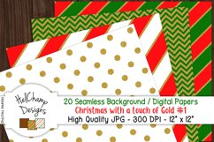 20 seamless Digital Papers - Christmas with Gold - HC006 Product Image 2