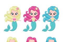 Cute mermaid clipart, PNG, EPS, JPG, 300 DPI Product Image 3