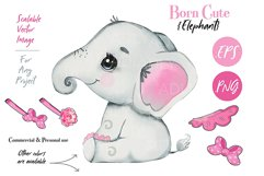 Baby elephant clip art, PNG, Watercolor animal, bow, skirt Product Image 1