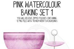 Pink Watercolor Baking Clip Art Set Product Image 2