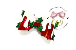 Christmas Holy Berry Bow Digital Template |Bow Template Product Image 2