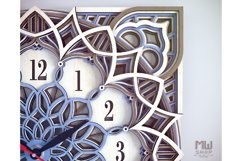 C12 - Laser Cut Wall Clock DXF, Mandala Clock, Wooden Clock Product Image 4