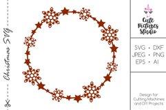 Christmas circle monogram frame with stars, snowflakes SVG Product Image 1