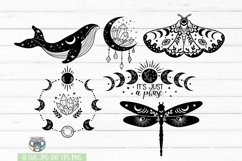 Celestial svg, Mystic, Crystal Moon, Moon Cat, Moon Phase Product Image 3