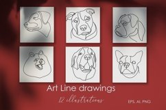 16 Dogs line drawings. Dog breeds Product Image 3
