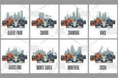 Bahrain, Sakhir, Barcelona, Spain, Shanghai, China, Melbourne, Australia, Baku, Montreal, Sochi, Monte Carlo, Cityline and cars on Grand Prix Product Image 1