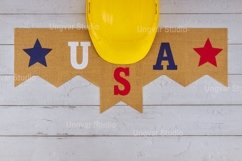 Construction yellow helmet on happy Labor Day US patriotic Product Image 1