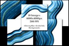 Glittery Blue Alcohol Ink Backgrounds - 10 Image Set Product Image 2