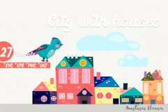 Town buildings with surrouding elements vector clipart set Product Image 2