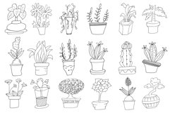 Hand Drawn Doodle Potted Plants Cliparts Product Image 2