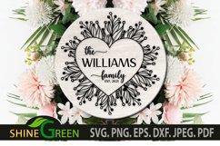 Valentines SVG - Flower Heart Family Monogram Frame Product Image 2