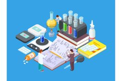 Isometric science lab. Vector medical research concept. Phar Product Image 1