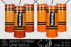 Orange Crayon 20 Oz. Skinny Tumbler Wrap Sublimation Design Product Image 1