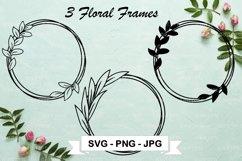 Leaf Circle SVG Cut File, Floral Frame Clipart, Leaf Wreath Product Image 1