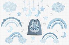 Sleeping blue elephant clipart, nursery print for boys Product Image 4