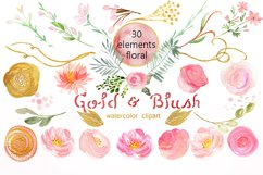Gold & blush watercolor flowers Product Image 6