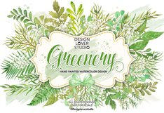 Watercolor Leaves Greenery clip arts Product Image 1