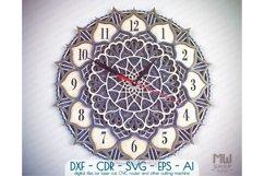 C18 - Laser Cut Wall Clock DXF, Mandala Clock, Wooden Clock Product Image 1