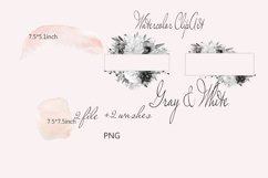 Watercolor Gray Floral Clipart Product Image 2