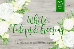 Watercolor white flowers arrangements. Tulips and Freesias. Product Image 1