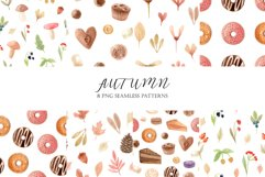 Watercolor Autumn Clipart Collection. Cozy patterns Product Image 4