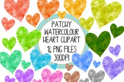 Patchy Watercolor Heart Clipart Set Product Image 1