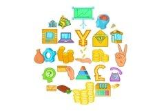 Bank icons set, cartoon style Product Image 1