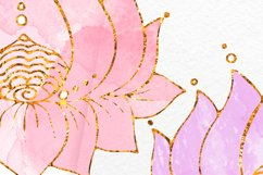 Lotus clipart Yoga meditation clip art Gold with watercolor Product Image 3