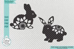 Floral Easter Bunnies set paper cut laser cut svg dxf files Product Image 2