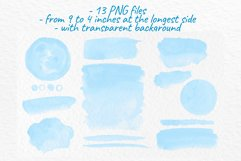 Blue watercolor washes clipart Watercolor stains decoration Product Image 3