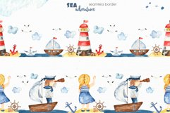 Watercolor Sea adventure. Clipart, seamless patterns, cards Product Image 9