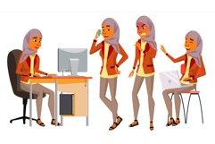 Arab Woman Office Worker Vector. Woman. Hijab. Saudi Product Image 1