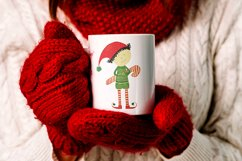 Watercolor Christmas elf with a candy Product Image 3