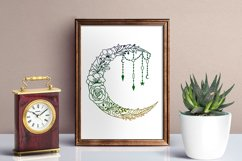 Moon SVG - Floral Crescent Moon SVG Cut Files Product Image 4