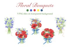 Watercolor Poppies and wildflowers bouquets clipart Product Image 1