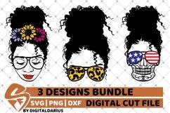 Messy Bun Designs Bundle svg, American Flag, Sunflower svg Product Image 1